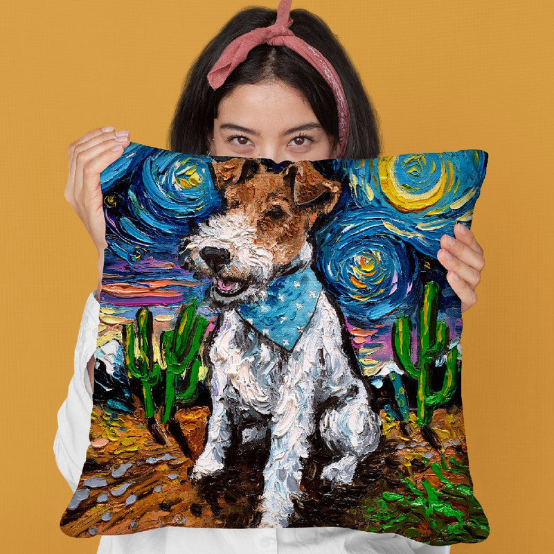 Wire Fox Terrier Throw Pillow by Aja Trier