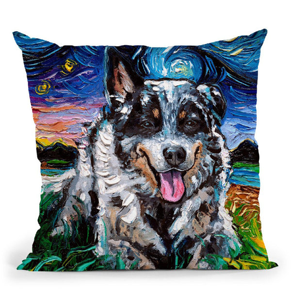 Australian Cattle Dog Ii Throw Pillow by Aja Trier