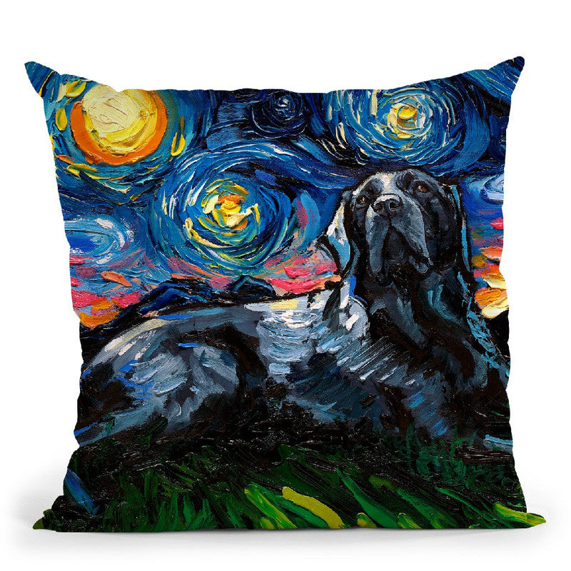 Black Labrador Iii Throw Pillow by Aja Trier