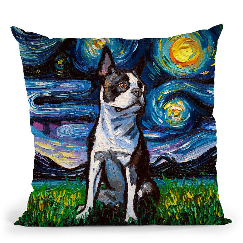 Boston Terrier Ii Throw Pillow by Aja Trier
