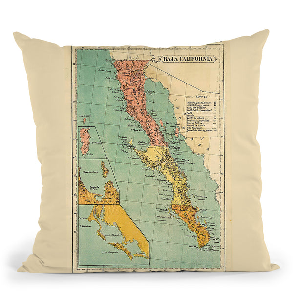 Baja California 1899 Throw Pillow By Adam Shaw