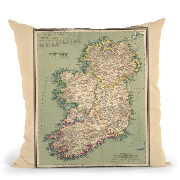 Ireland Map 1888 Throw Pillow By Adam Shaw