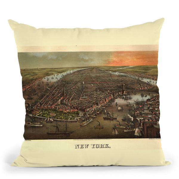 New York City 1873 Throw Pillow By Adam Shaw