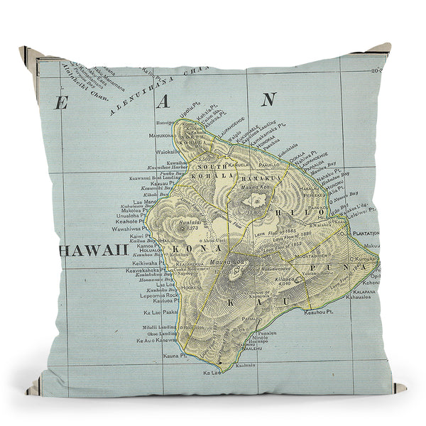 Big Island Hawaii 1901 Cartog Throw Pillow By Adam Shaw