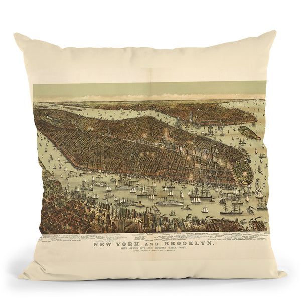 New York Jersey City Brooklyn 1892 Throw Pillow By Adam Shaw