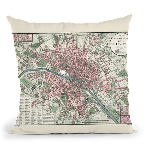 Paris France 1821 Throw Pillow By Adam Shaw
