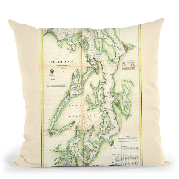 Puget Sound 1867 Throw Pillow By Adam Shaw