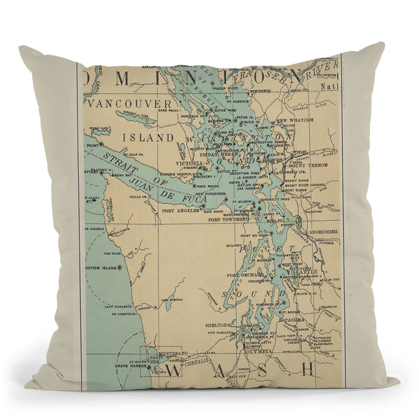 Puget Sound 1898 Map Throw Pillow By Adam Shaw