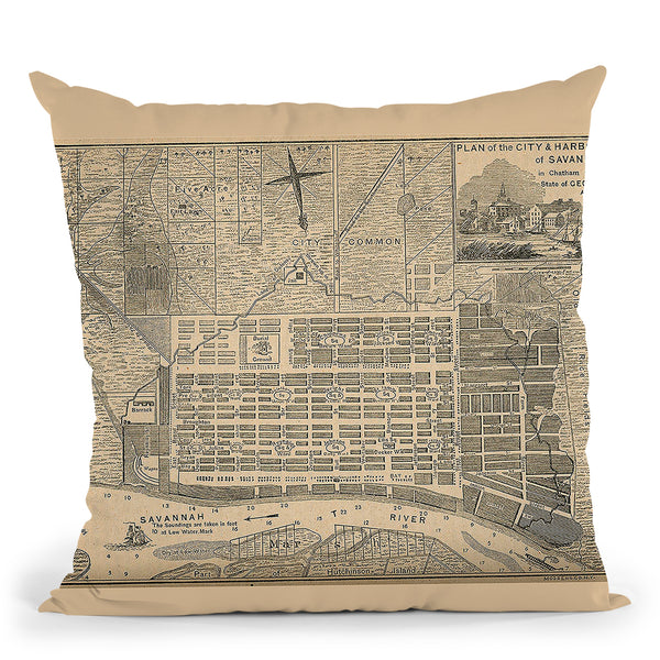Savannah Ga 1818 Throw Pillow By Adam Shaw