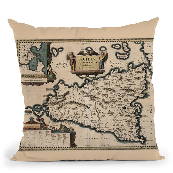 Sicily Italy 1619 Cartog Throw Pillow By Adam Shaw