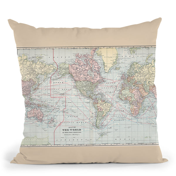 World 1901 Throw Pillow By Adam Shaw