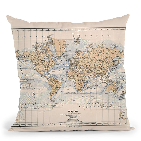 World Map 1884 Throw Pillow By Adam Shaw