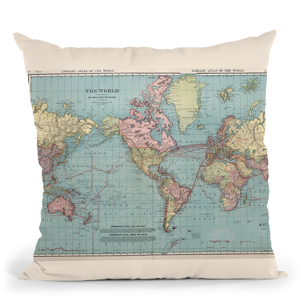 World Map 1912 Cartog Throw Pillow By Adam Shaw
