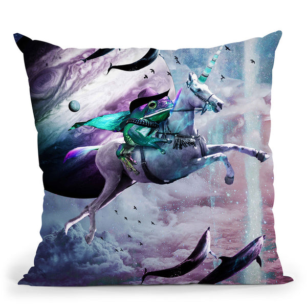Epic Frog Riding Unicorn Throw Pillow By Skyler Hill