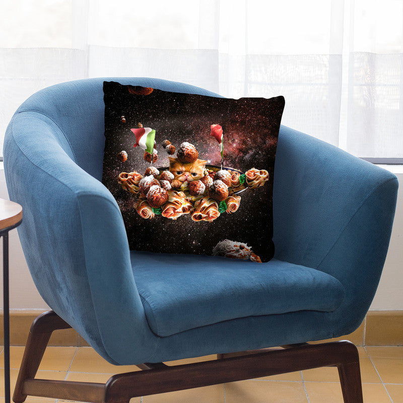 Funny Space Pasta Cat Throw Pillow By Skyler Hill