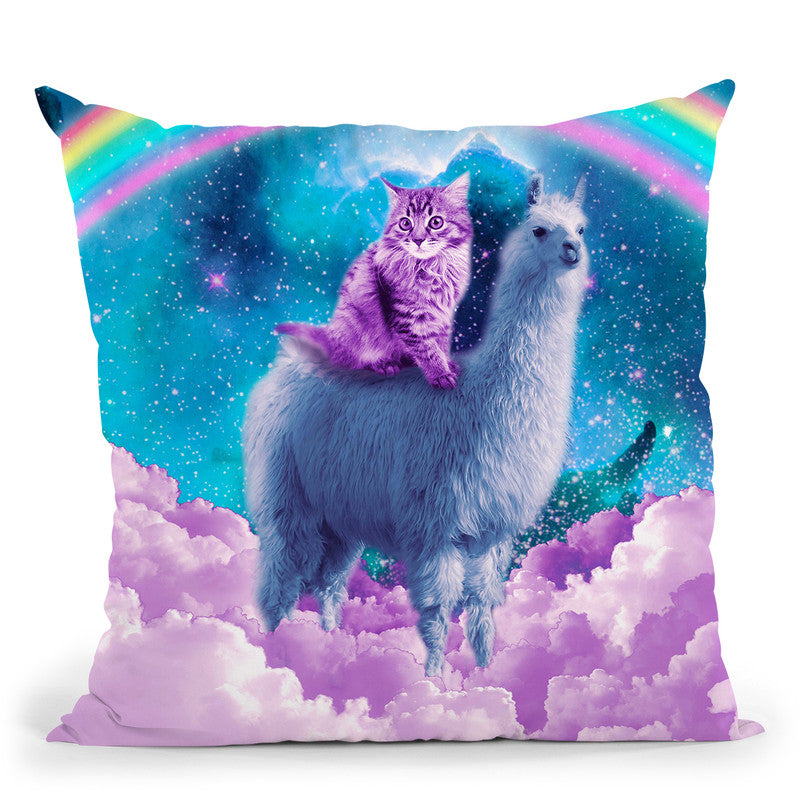 Rainbow Llama - Cat Llama Throw Pillow By Skyler Hill