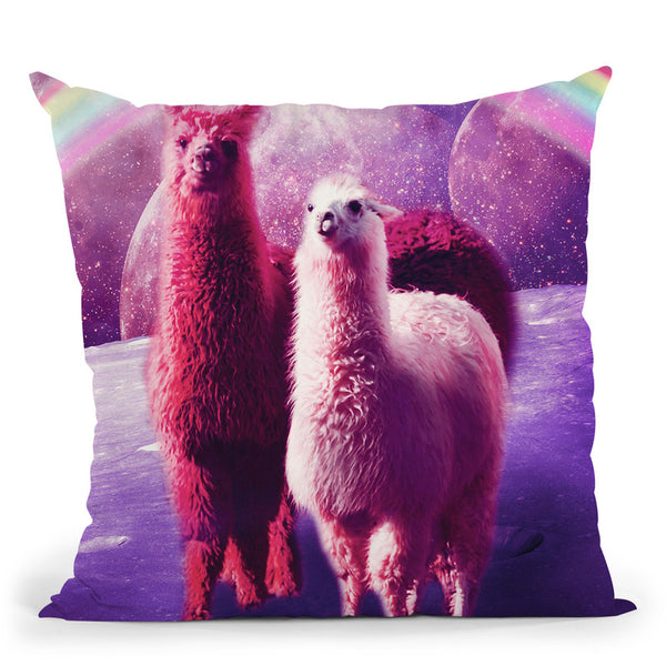 Crazy Funny Rainbow Llama In Space Throw Pillow By Skyler Hill