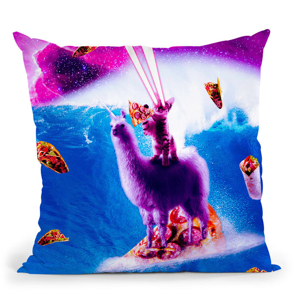 Laser Eyes Space Cat Riding On Surfing Llama Unicorn Throw Pillow By Skyler Hill
