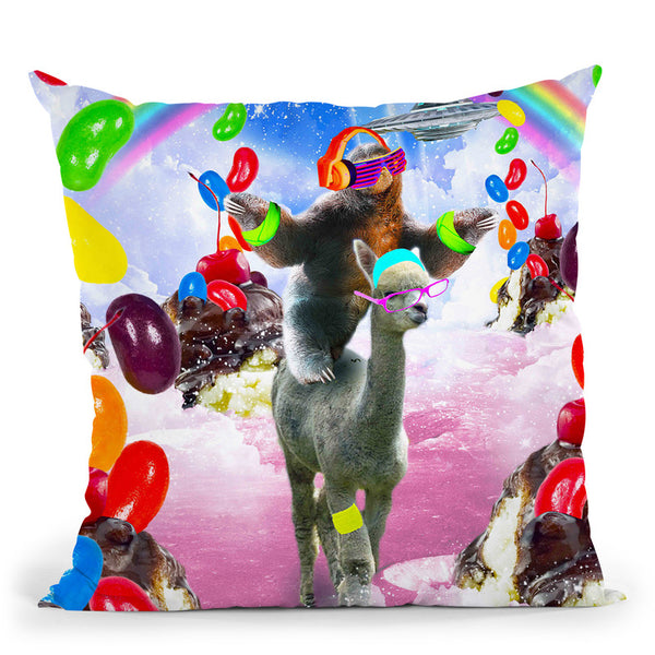 Sloth Riding Alpaca With Sundae And Jelly Beans Throw Pillow By Skyler Hill