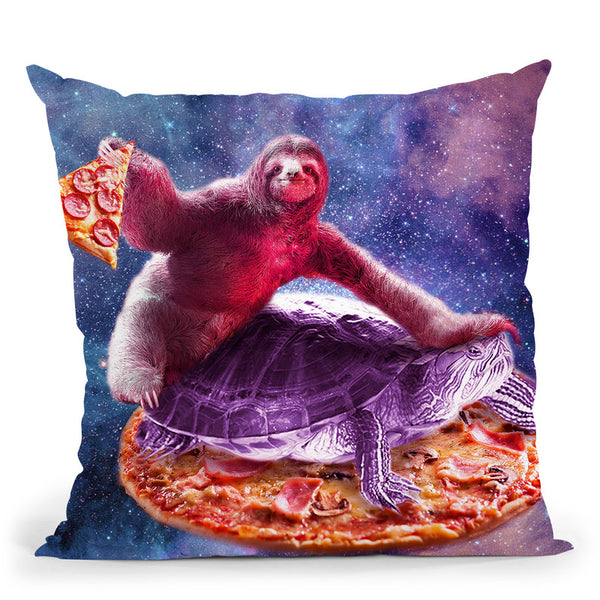 Trippy Space Sloth Turtle - Sloth Pizza Throw Pillow By Skyler Hill