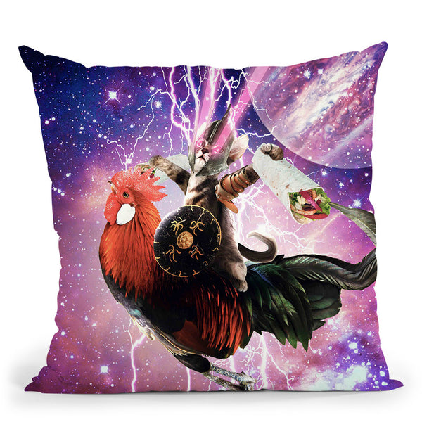 Lazer Warrior Space Cat Riding Chicken Eating Burrito Throw Pillow By Skyler Hill