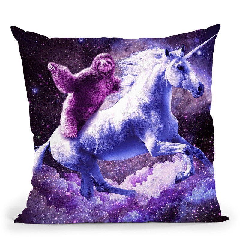 Space Sloth Riding On Unicorn Throw Pillow By Skyler Hill