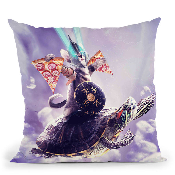 Tornado Cat Riding Turtle Eating Pizza Throw Pillow By Skyler Hill