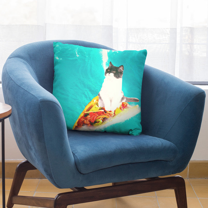 Kitty Cat Surfing Taco Throw Pillow By Skyler Hill