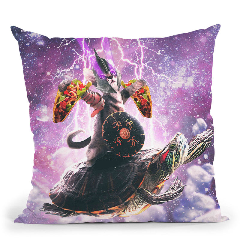 Lazer Warrior Space Cat Riding Turtle Eating Taco Throw Pillow By Skyler Hill