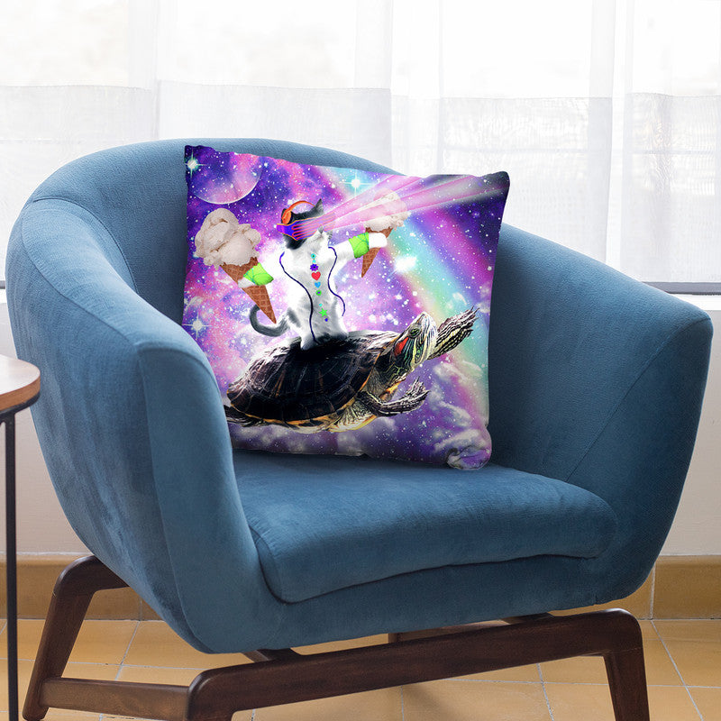 Lazer Rave Space Cat Riding Turtle Eating Ice Cream Throw Pillow By Skyler Hill