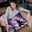 Lazer Rave Space Cat Riding Panda Eating Hotdog Throw Pillow By Skyler Hill