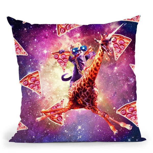Thug Space Cat On Giraffe Unicorn - Pizza Throw Pillow By Skyler Hill