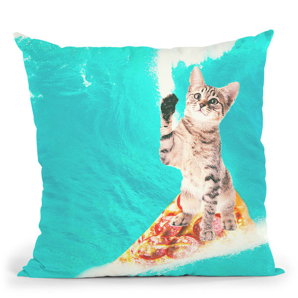 Kitty Cat Surfing Pizza Throw Pillow By Skyler Hill