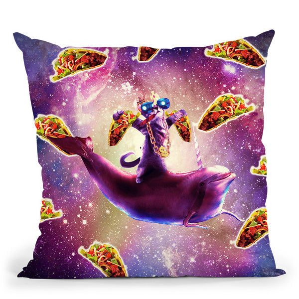 Thug Space Cat On Dolphin Unicorn - Taco Throw Pillow By Skyler Hill