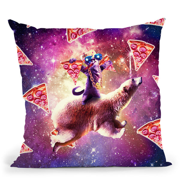 Thug Space Cat On Polar Bear Unicorn - Pizza Throw Pillow By Skyler Hill