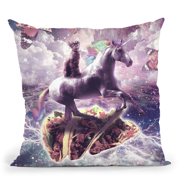 Space Cat Riding Unicorn - Pizza & Taco Throw Pillow By Skyler Hill