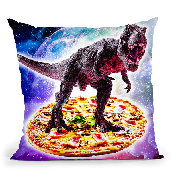 Tyrannosaurus Rex Dinosaur Riding Pizza In Space Throw Pillow By Skyler Hill