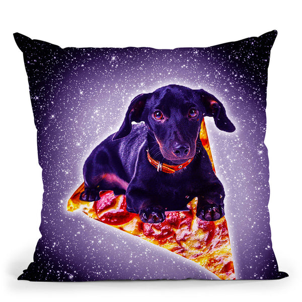 Outer Space Galaxy Dog Riding Pizza Throw Pillow By Skyler Hill