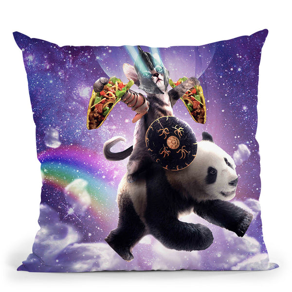 Lazer Warrior Space Cat Riding Panda With Taco Throw Pillow By Skyler Hill