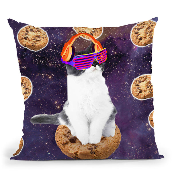Rave Kitty Cat On Choc Cookie In Space Throw Pillow By Skyler Hill