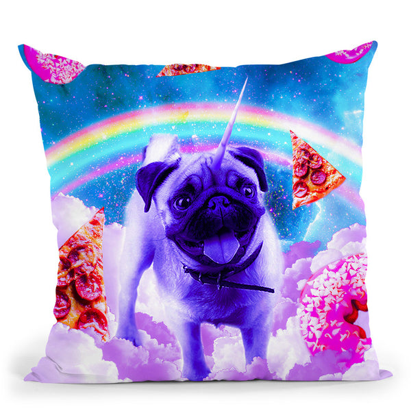 Rainbow Unicorn Pug In The Clouds In Space Throw Pillow By Skyler Hill