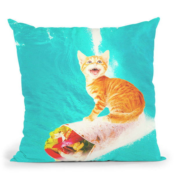 Kitty Cat Surfing Burrito Throw Pillow By Skyler Hill