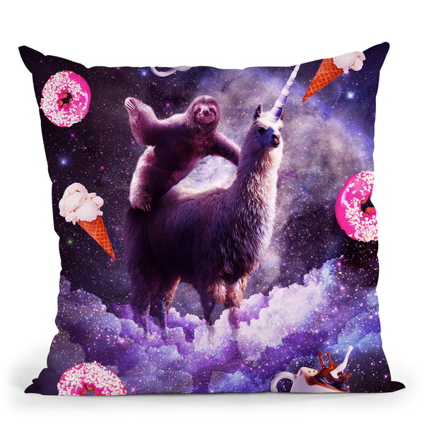 Outer Space Sloth Riding Llama Unicorn - Donut Throw Pillow By Skyler Hill