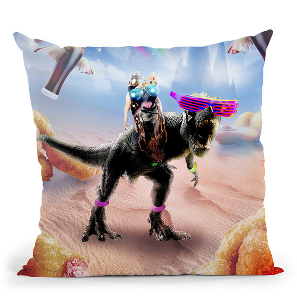 Pug Riding Dinosaur With Chicken Nuggets And Cola Throw Pillow By Skyler Hill