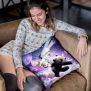 Lazer Rave Space Cat Riding Panda With Ice Cream Throw Pillow By Skyler Hill
