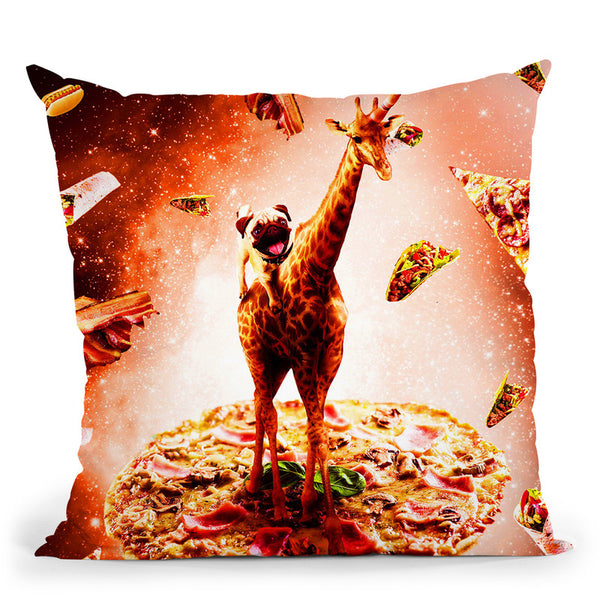 Outer Space Pug Riding Giraffe Unicorn - Pizza Throw Pillow By Skyler Hill