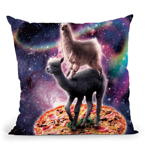 Rainbow Space Llama On Alpaca Riding Pizza Throw Pillow By Skyler Hill