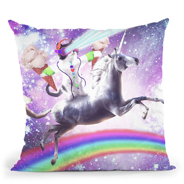 Lazer Rave Space Cat Riding Unicorn With Ice Cream Throw Pillow By Skyler Hill