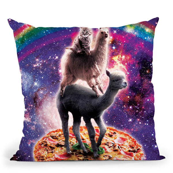 Space Cat Llama Alpaca Riding Pizza Throw Pillow By Skyler Hill