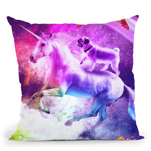 Rainbow Space Pug Riding On Flying Unicorn With Taco Throw Pillow By Skyler Hill